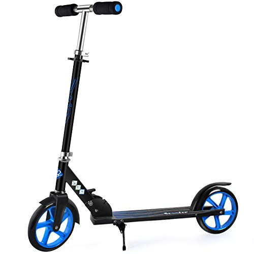 BELEEV Scooters for Kids 8 Years and up, Foldable Kick Scooter 2 Wheel, Quick-Release Folding System, 3 Adjustable Height, Large 200mm Wheels Great Scooters for Adults and Teens (Blue)