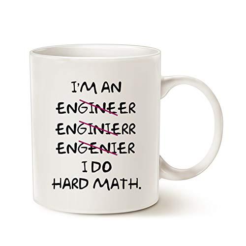 MAUAG - Tazas de café con texto en inglés «I Do Hard Math», 325 ml, color blanco
