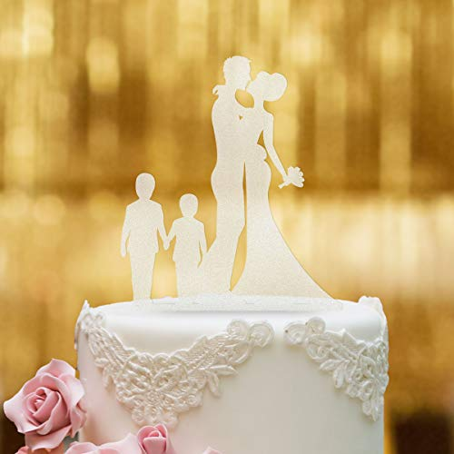 Cake Topper Brautpaar mit Kindern Jungen - für die Hochzeitstorte - Acrylglas Satiniert - XL - Tortenaufsatz, Kuchen, Deko, Tortenstecker, Tortenfigur, Hochzeit, Kuchanaufsatz, Kuchendeko, Mr Mrs
