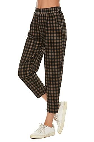 LNX Womens Plaid Pants Elastic Waist Casual Work Office Crop Trousers