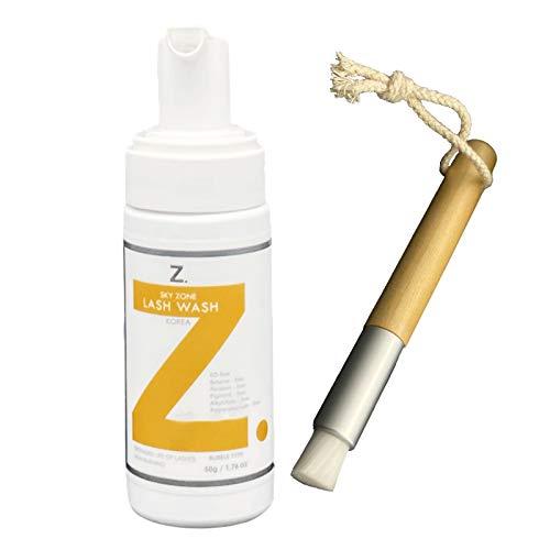 Wimpernshampoo für die Wimpernverlängerung - Schaumreiniger - Reinigungspflege - Mild und Sensitiv - inkl. Reinigungsbürste - Wimpernbürste (1x50ml)