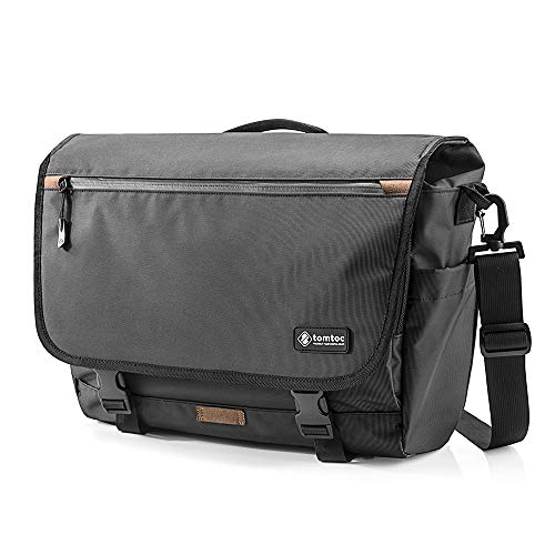 "tomtoc 15.6 Inch Shoulder Bag, Waterproof Messenger Bag Travel Bag Fits 16 Inch New MacBook Pro 2019, Dell XPS 15 Inch, Surface Book 2, ThinkPad X1 Extreme Gen 2 15"", Multi-Functional with RFID Pocket"