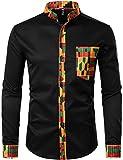ZEROYAA Men's Hipster Patchwork Design Slim Fit Long Sleeve Button up Mandarin Collar Shirts ZZCL46 Black X Large