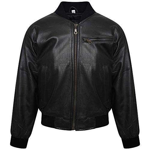 Boys/Girls Motorcycle Real Leather Kids Jacket Biker Style Kids Bomber Jacket (30= 8-9 Years) Black