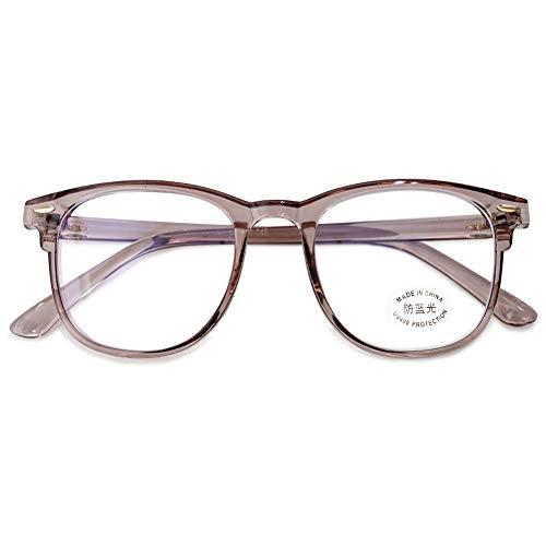 KOOSUFA Blaulichtfilter Brille Computerbrille Retro Ultra Licht TR90 Rund Brillengestelle Damen Herren Gaming Bluelight Filter Brillen Ohne Sehstärke Anti Müdigkeit mit Etui (Durchsichtig Braun)