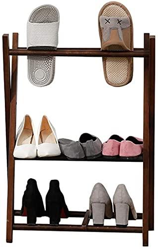 WSMKSZ Zapatero de Madera Maciza Estilo nórdico Marco de Zapatilla Creativa Color Nogal Balcón Zapatos Colgantes Estante Pasillo Soporte de exhibición de Almacenamiento de Zapatos Moderno L50W23H70