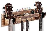OTIME Guitar Wall Hanger Double Guitar Holder Wall Mount Ukulele Wall Mount Guitar Bracket Wood Hanging Rack with Pick Holder and 4 Hook & Guitar Picks