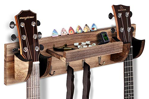 OTIME Guitar Wall Hanger Double Guitar Holder Wall Mount Ukulele Wall Mount Guitar Stand Wood Hanging Rack with Pick Holder and 4 Hook & Guitar Picks