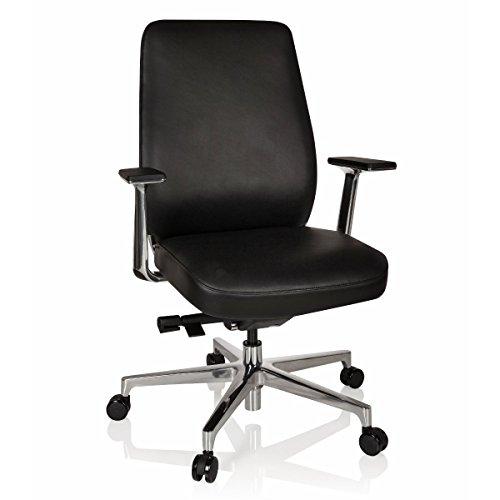 hjh OFFICE 600982 Luxus Chefsessel Vermont Echt Leder Schwarz Bürodrehstuhl ergonomisch mit Armlehne
