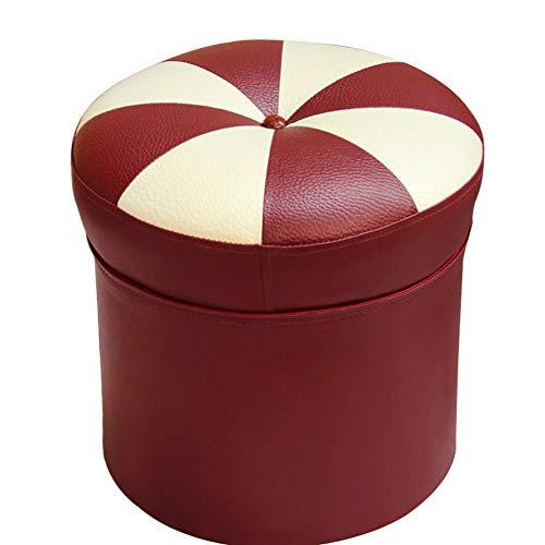 YUEDUDENG Cuero Asiento Reposapiés Reposapiés,otomano Circular Moda Cambiar El Taburete del Zapato Salón Taburete Creativo Rojo