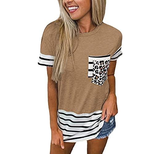 Camiseta De Manga Corta con Bolsillo A Rayas Y Cuello Redondo De Verano para Mujer