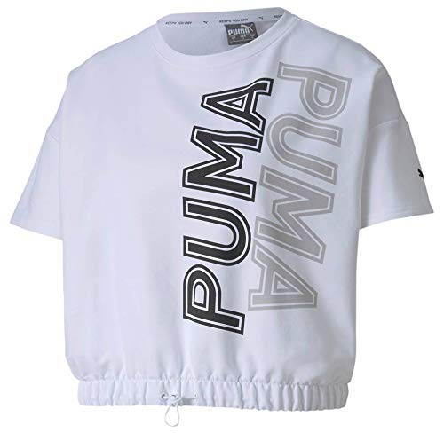PUMA Modern Sports Sweat tee Camiseta, Mujer, White, M