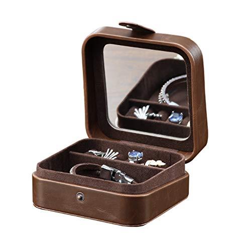 Cajas para joyas Almacenamiento Joyería caja marrón con el espejo de la PU de la joyería de cuero...