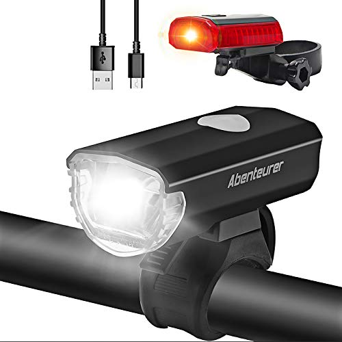 Abenteurer LED Fahrradlicht Set, LED Fahrradbeleuchtung USB Aufladbar Fahrradlampe Set, Wasserdicht Fahrradlicht Vorne Rücklicht Set Licht für Fahrrad 2 Licht-Modi Fahrrad Licht