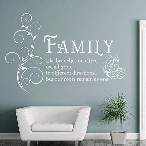 Adesivi murali camera dei bambini soggiorno camera da letto adesivi albero genealogico farfalla wall art stickers citazione murale famiglia design moderno 58X88Cm