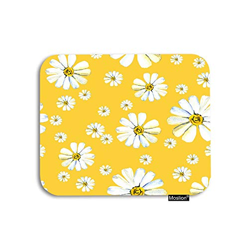 Moslion Daisy Mouse Pad White Camomile Flower in Yellow Garden Botanical Plant Floral Gaming Mouse Pad Rubber Large Mousepad for Computer Desk Laptop Office Work 7.9x9.5 Inch