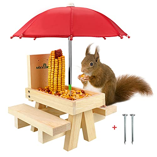 MIXXIDEA Squirrel Feeder Table with Umbrella, Wooden Squirrel Picnic Table Feeder, Durable Squirrel Feeder Corn Cob Holder, with Solid Structure and 2 x Thick Benches(Squirrel Feeder table-1pk)