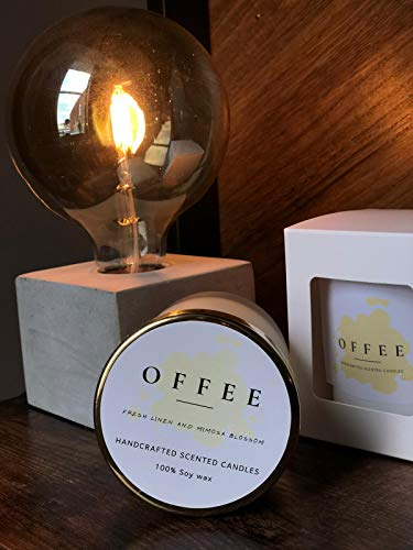 OFFEE HANDCRAFTED SCENTED CANDLE FRESH LINEN AND MIMOSA BLOSSOM GIFT PACK