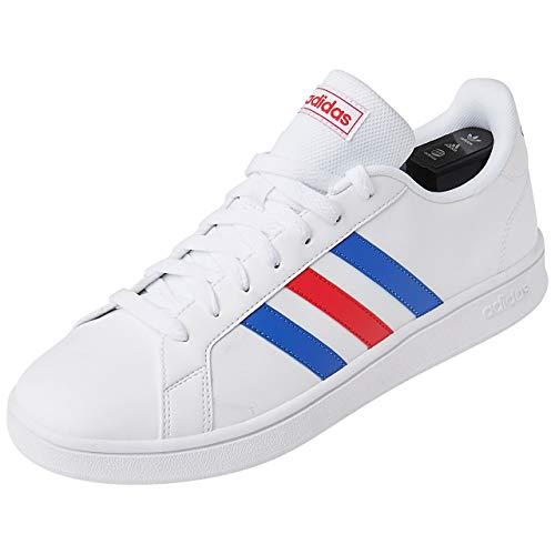 adidas Grand Court Base, Scarpe da Tennis Uomo, Ftwr White/Blue/Active Red, 46 2/3 EU