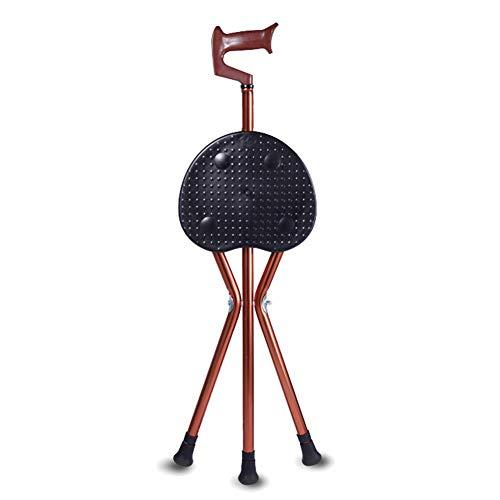 YWYW Asiento plegable y altura de caña ajustable ligero plegable ayuda de movilidad para personas mayores, ideal para al aire libre, esperando viajar o descansar B