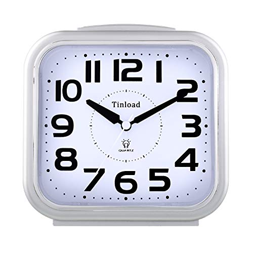 "5.5"" Silent Analog Alarm Clock Non Ticking, Gentle Wake, Beep Sounds, Increasing Volume, Battery Operated Snooze and Light Functions, Easy Set, Silver (Best for Elder)"