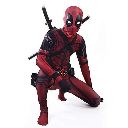 KLEIDEE Cosplay Ropa Traje De Deadpool Cosplay Disfraz De Lycra Medias Siamesas Impresión Digital 3D Vestido Navideño Apretado De Halloween para Adultos/Niños Desgaste Kid-M