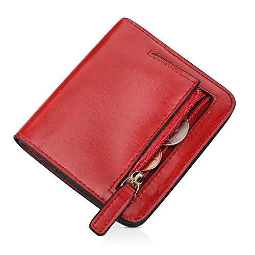 EVERWELL Small Wallet for Women Rfid Blocking Compact Bifold Leather Wallet Ladies Mini Purse With ID Window Women Slim Pocket Purse-Red