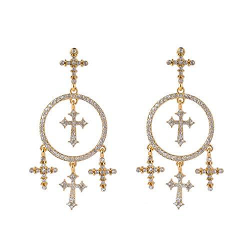 Vintage stijl legering gesneden kruis kwast oorbellen oor-drop hangende dropping voor vrouwen bengelen drop vintage sieraden accessoire goud