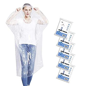 5 Pack Disposable Emergency Rain Ponchos for Adults