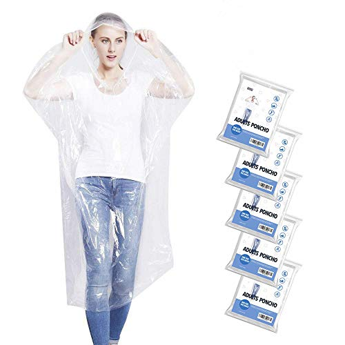 5 Pack Emergency Rain Ponchos for Adults, Disposable Drawstring Hood Poncho for Outdoors, Theme Parks, Hiking, Camping, School Sporting Corporate Events Group Activity - Clear