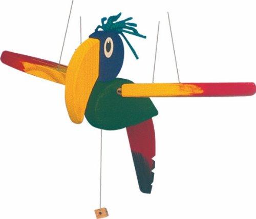 alles-meine.de GmbH Swing Vogel Mobile Holz DEKO HÄNGER PAPAGEI Swingvogel Schwingvogel 30cm
