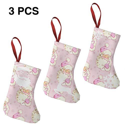 Liliylove Hi Santa Lot de 3 Chaussettes de Noël Vintage Rose Clair 19 cm