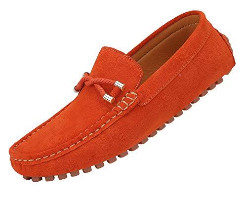 Yaer Herren Klassisch Loafer Wohnungen Wildleder Mokassins Slip On Flache Fahren Schuhe Slippers(Orange,44 Asien)