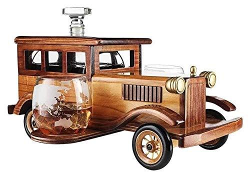 SYZHIWUJIA Decanter Whisky Set Regalo 1000ml con 2 Bicchieri di Cristallo Pietre di Whisky e Pannelli d'Epoca antiquata Auto - Whisky Set per Uomo, Usato per Halloween Decanter