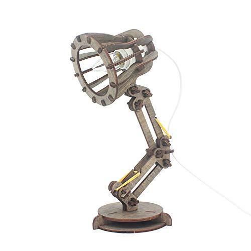 LANKOULI Retro Coffee Shop Tischlampe Holz Vintage Schreibtischlampe E27 Lampe 110 V 220 V DIY Schlafzimmer Stehtisch Schreibtisch Licht-Dunkelbraun