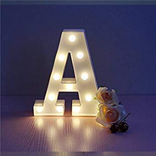 QTWW Batteriebetriebenes LED-Licht-Logo mit 26 Buchstaben, Festzelt-Tischlampe aus Kunststoff, beleuchtete Wörter, Geburtstagshochzeit, tägliche Heimdekoration, Wandbehang