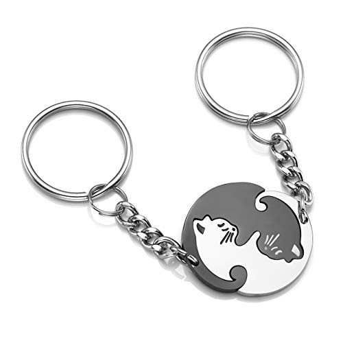 PiercingJak Paare Schlüsselanhänger Set, 2 STK. Edelstahl Puzzle Partner Katze Schlüsselbund Keychain Schlüsselring für Herren Damen,Silber/Schwarz/Gold