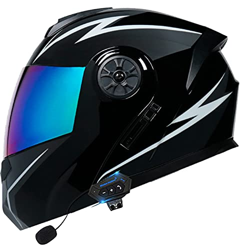 STRTG Bluetooth Modular Flip up Front Motorcycle Helmet Double Sun Visor Open Face Motorbike Crash Helmet Multi-Function Flip Helmet DOT/ECE Approved for Kids Youth Men Women Adults O,S = 55~56CM