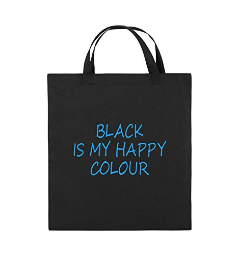 Comedy Bags - Black is My Happy Colour - Jutebeutel - Kurze Henkel - 38x42cm - Farbe: Schwarz/Blau