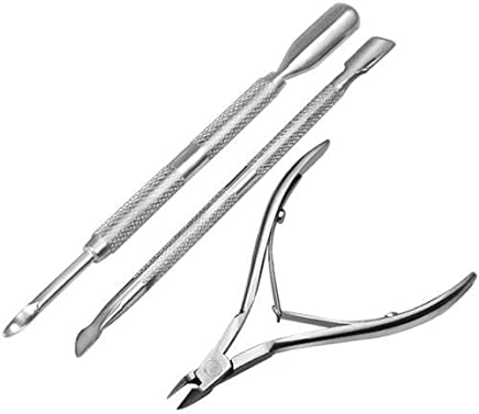 Yaheetech Caltrad 3 Stainless Steel Nail Cuticle Spoon Pusher Remover Cutter Nipper Clipper