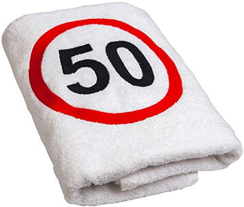 Abc-Casa Geschenk zum 50 Geburtstag Handtuch mit aufgesticktem Verkehrszeichen für Mann und Frau-Ein dauerhaft nützliches 50 Jahre Geburtstagsgeschenk-Eine praktische 50 jähriges Jubiläum Geschenkidee