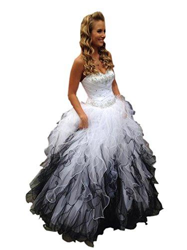 Mollybridal Sweetheart Ruffles Ball Gown Wedding Dresses Tulle Crystals Beaded Corset Back Black/White 8