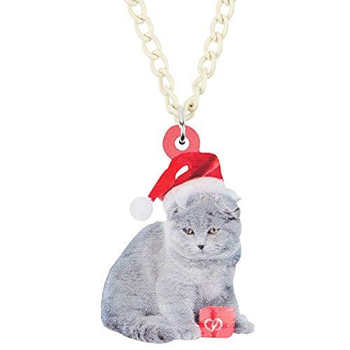 Collar Colgante Acrílico sombrero de Navidad Scottish Fold gato gatito collar colgante cadena gargantilla Animal joyería para mujeres niñas adolescentes niños regalo Regalo de cumpleaños de Navidad