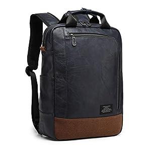 [グッシオ ウォーモ] 2WAY リュック × 手提げバッグ キャリーオンバッグ 大容量 薄型 PUレザー 撥水 ビジネス カジュアル メンズ (ネイビー)