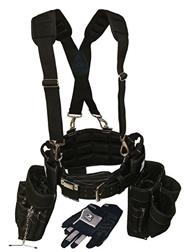 Gatorback Electricians Combo Deluxe Package (Ventilated Back Support Tool Belt Combo, Suspenders, Drill Holster,...