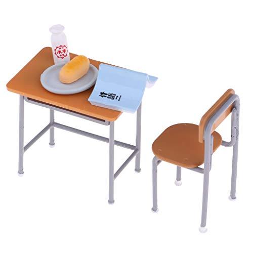 Baoblaze 6 Stück Schule Schreibtisch Stuhl Set Möbel Für Puppenhaus Dekor Kinder Spielset
