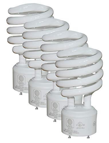 SleekLighting - GU24 23Watt 2 Prong Light Bulbs- UL approved-120v 60Hz - Mini Twist Lock Spiral -Self Ballasted CFL Fluorescent Bulbs- 4200K 1600lm Cool White 4pack (100 Watt Equivalent)