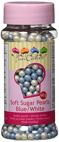 Perles alimentaires nacrées bleu et blanc pour décoration gâteau 60 g