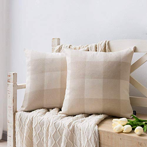 Nestinco Set of 2 Farmhouse Buffalo Check Cotton Linen Pillow Covers Beige and White Square Throw Pillow Covers 18 x 18 inches for Sofa Couch Decor