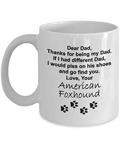 Taza divertida del papá del perro - Gracias por ser mi papá, su raposero americano - Regalo para el día del padre, cumpleaños, hombres, amigos, papá de Dog - para los papás amantes de los perros -